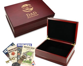 World's Best Dad Rosewood Keepsake Box - Personalized Wooden Memories Box for Dad - Laser Engraved Large Keepsake Case - Gift for Him