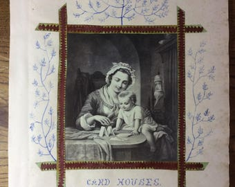 Page from an original 1870s scrapbook with cut-out Illustration