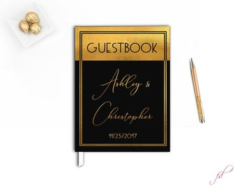 Gold and Black Wedding Guest book, Elegant Wedding guestbook, Black and Gold Wedding Guestbook, Gatsby wedding theme guest book