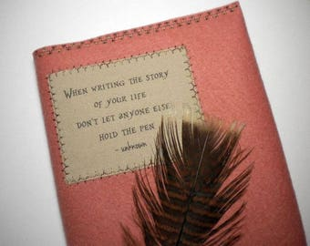 """Handcrafted Wool Felt Journal / Sketchbook, 5"""" x 8"""", refillable, reusable - Hold Your Own Pen - Pay it forward, PIF"""