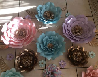 Set of 19 Paper Flowers- Unicorn Themed Backdrop