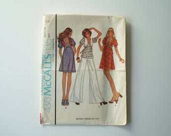 1974 McCall's 4373 Misses' Dress Or Top Vintage Paper Sewing Pattern Size 16 Bust 38