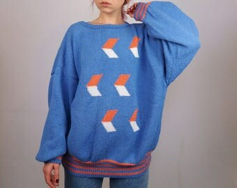 Vintage 90's Handmade Wool Knit Jumper Oversized / Slouchy pullover / Retro print Blue and Orange