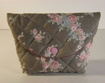 Shabby chic quilted fully lined cotton pouch