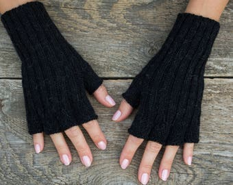 Black fingerless gloves fingerless black gloves women gloves black knit gloves short black gloves half finger gloves alpaca wool pure alpaca