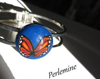 Bracelet TORC monarch butterfly, polymer clay.