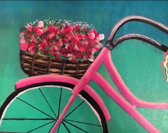 Pink whimsical bicycle painting