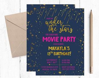 Under the stars invitation, Under the stars Movie night, Under the stars Birthday Party, Under the stars invitations, backyard movie night,