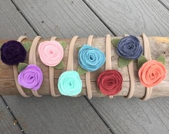 Felt Flower Headband - Nylon Headband - Newborn Headband - Baby Headband - Floral Headband - Baby Gift - Infant Headband - Hair Bow - Posie