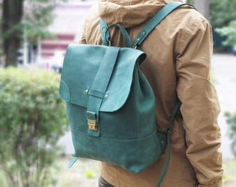 Large leather backpack,Laptop backpack leather,Large handmade backpack,Laptop rucksack leather,Large rucksack,leather backpack laptop,Green