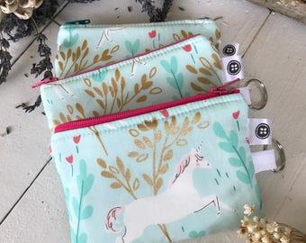 Change Purse | Unicorn Forest Zipper Pouch, Credit Card Holder, Cotton