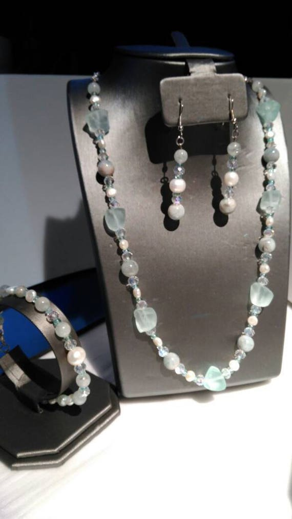 Aqua beauty 3 piece jewelry suite