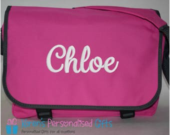 Personalised School/Messenger/Shoulder Pink Bag, Embroidered with Name