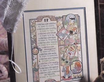 If A Child.... Poem Cross Stitch Sampler Pattern -Leisure Arts Leaflet 2969