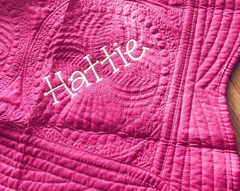 Monogrammed Baby Quilt, Baby Blanket