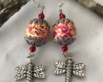 Polymer Clay & Dragonfly Dangle Earrings