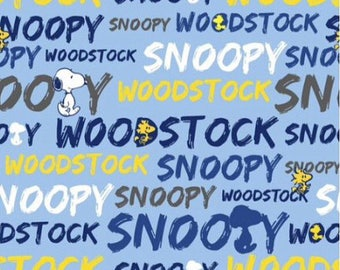 "Snoopy and Woodstock words for Springs Creative, 43-44"" wide, 100% cotton, by the half yard"