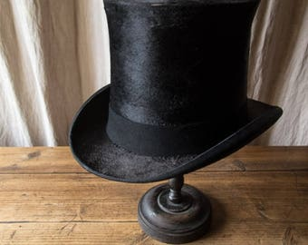 Old antique french black Top hat Berteil Paris