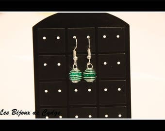 Earring with its Green crackled bead cage