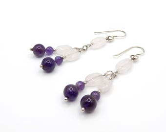 Purple, grape cluster earrings in 925 sterling silver, natural stone Amethyst, rose quartz jewelry elegant gift for her
