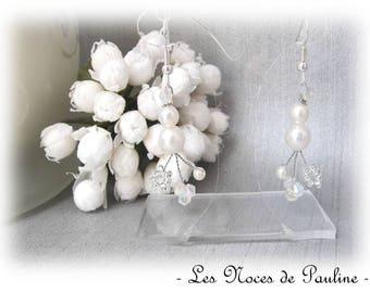 White wedding Celia dots earrings