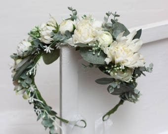 Ivory dahlia eucalyptus flower crown Bridal floral headband Wedding hair wreath Hair flowers  Bridesmaid crown Maternity photo props