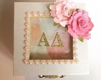 Any Sorority, Pretty Pink & Pastel: Sorority pin box, Handmade, Choose any Sorority