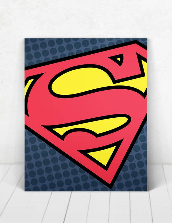 Superhero Superman Pop Art Wall Art / Superman Logo Pop Art / Superman Logo / Superman