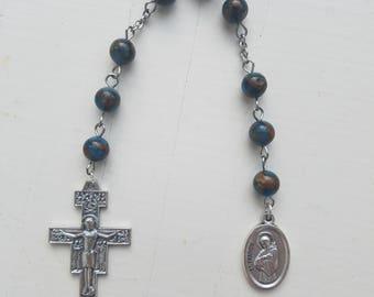 Pocket Rosary Roman Catholic St Francis Chaplet Christian Prayer Beads Niner - Blue Ocean Sediment Jasper Stone Beads