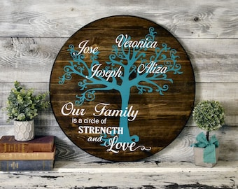 """24"""" Round Family Tree Rustic Painted Wood Sign"""