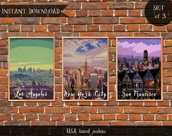 USA Travel Posters, Set of 3 Instant download Digital prints