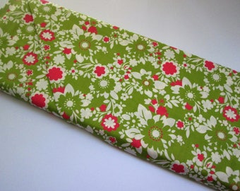 Yardage of Green with Pink Flowers from It's A Hoot Line by Momo for Moda