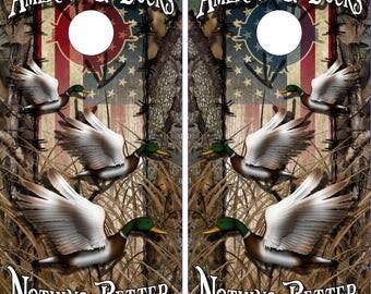 Wicked Wire American Duck Hunt Camo Cornhole Wrap Bag Toss Decal Baggo Skin Sticker Wraps