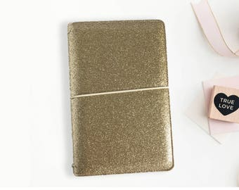 Champagne Gold Travelers Notebook, Sparkle, Glitter, Champagne Gold TN