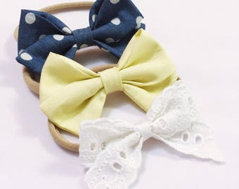 Lemon denim tea party bow headband trio set