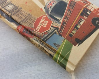 London Notebook,London Theme Notebook,Red Bus Diary,Big Ben Notepad,Travel Journal,Travel Diary,London