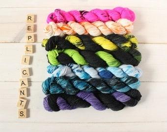 Indie dyed yarn - Replicants hand dyed sock yarn set - neon yarn - speckled yarn - gradient yarn - nerdy yarn - geeky yarn - mini skein set