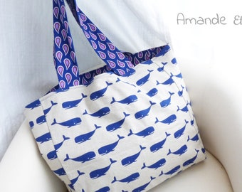 "Tote bag Big Blue or Maurice whale #2 - collection ""Mojito"" by Amande Etoilée - beach bag - Tote Bag"
