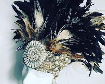 Natural feather headdress, festival feather headdress, burning man festival feather headdress, tribal feather headdress, feather headpiece