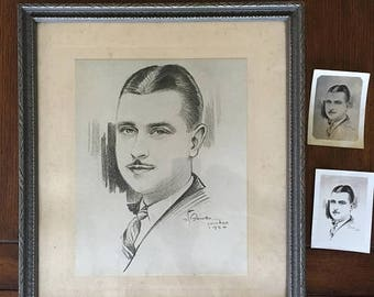 ON SALE Ships FREE 1930's Framed Matted Charcoal Portrait Drawing Dapper Young Man D Brioso Chicago World's Fair Century of Progress