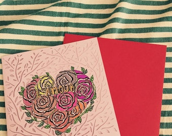 Handmade - love greeting card