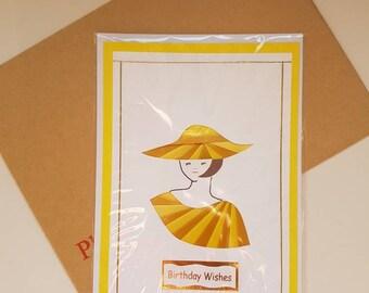 Handmade female birthday card, greetings cards, Iris folded cards, lady birthday card