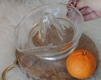 Vintage Glass orange juicer, classic mid century heavy weight pressed glass hand juicer. 1 of 2 shown