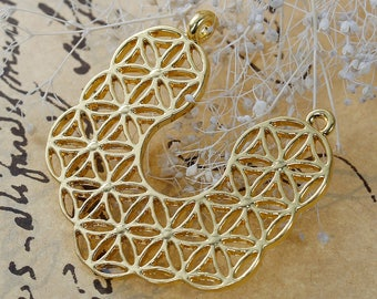 U-shaped connector style flower of life openwork gilt 3.7 cm