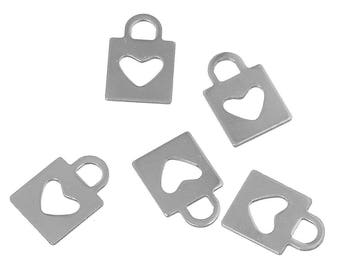 5 charms in the shape of lock / 16mm stainless steel heart