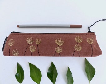Chocolate and gold /Trousse flowers pencil case Brown pen / embroidered flowers and gold / pouch for school / office bag / golden flowers