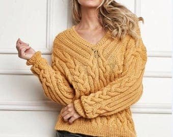 Mustard sweater with braids ,women's sweater knitting made voluminous braids with V-neckline,made to order