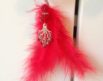 Red door charm, feather and rhinestone