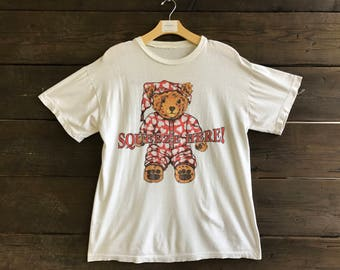 Vintage 90s Teddy Bear Graphic 50/50 Tee