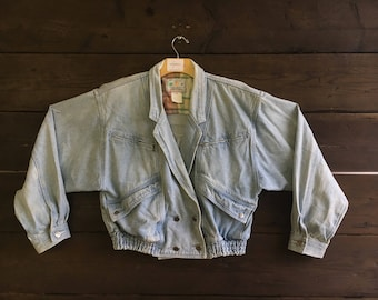 Vintage  80's Quanli Denim Double Breasted Jacket